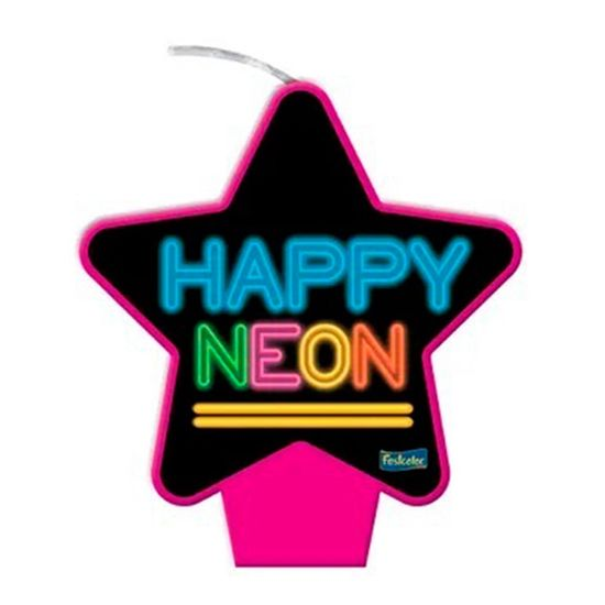 Vela Plana Estrela Neon Pink
