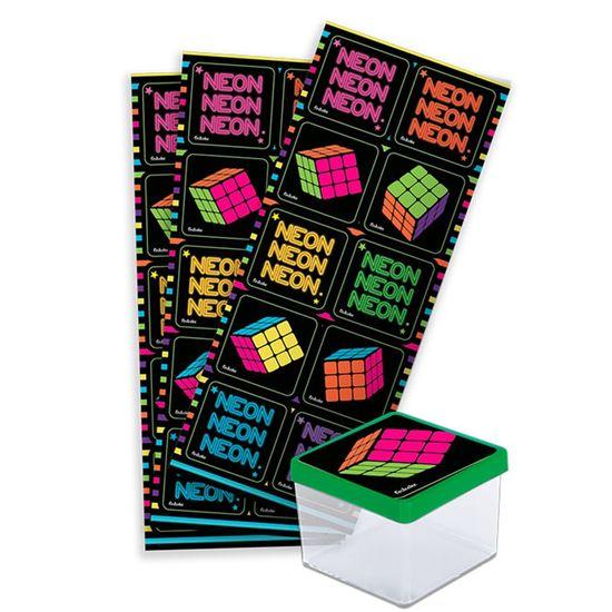 Adesivo Decorativo Quadrado Neon - 3 Cartelas