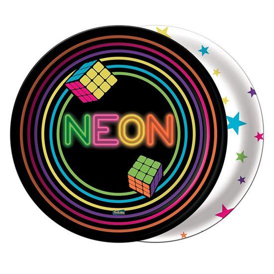 Prato Redondo Descartável Neon - 8 Un