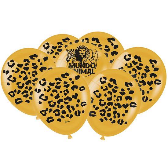 Festa Mundo Animal - Balão Látex Impressão 360 Fashion Mundo Animal Onça - 25 Unidades