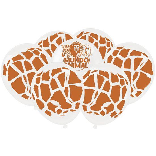 Festa Mundo Animal - Balão Látex Impressão 360 Fashion Mundo Animal Girafa - 25 Unidades