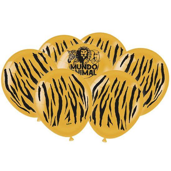 Balão Látex Impressão 360 Fashion Mundo Animal Tigre - 25 Un