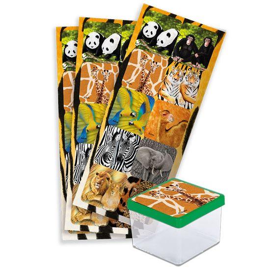 Festa Mundo Animal - Adesivo Decorativo Quadrado Mundo Animal - 3 Cartelas