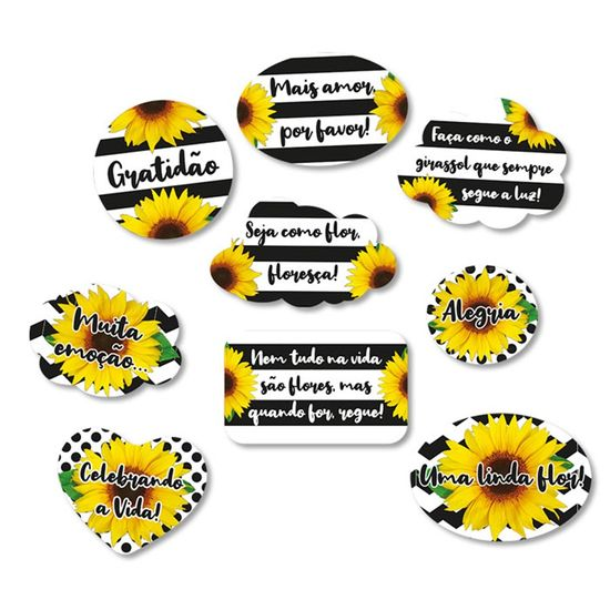 Festa Girassol - KIt Plaquinhas Cartonadas Girassol - 9 Un
