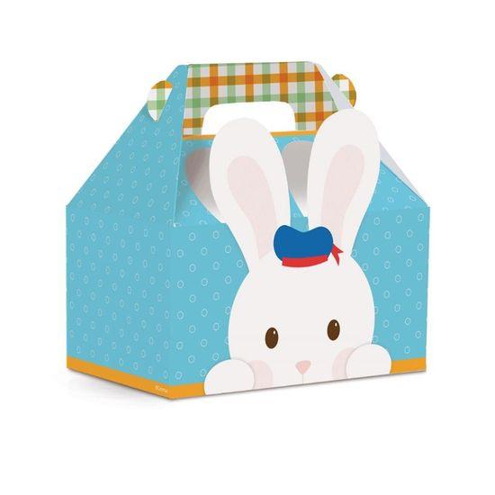 Cromus - Caixa Maleta Kids Os 3 Coelhinhos Azul M 12X8X12 - Pacote com 10 Un