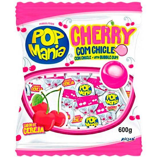 Pirulito Pop Mania Cherry Recheio Chiclete Riclan - 50 Unidades