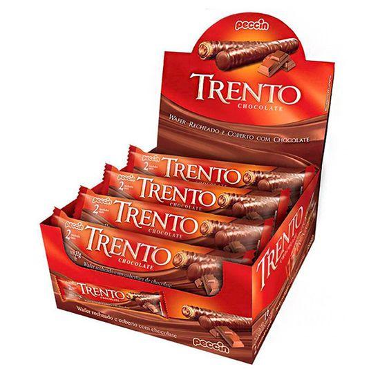 Chocolate com Wafer Trento Recheio Chocolate Peccin 32g - 16 Unidades