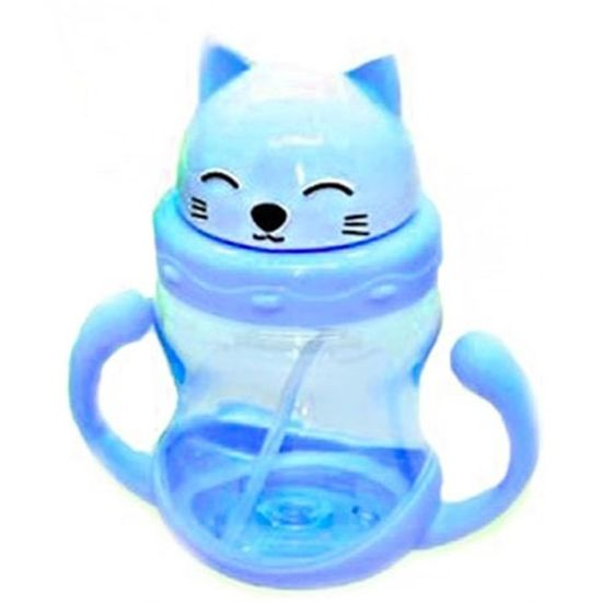 Garrafa Squeezes Infantil Formato de Gatos Azul 250ml