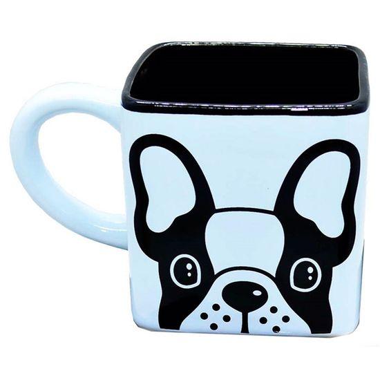 Caneca Porcelana Quadrada Cachorro 300ml