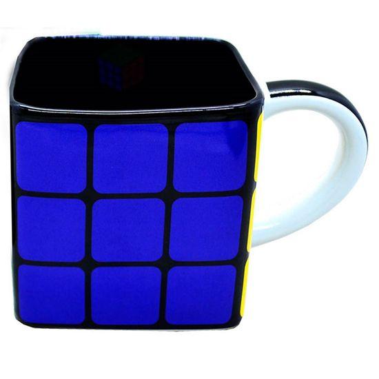 Caneca Porcelana Quadrada Cubo Mágico 300ml