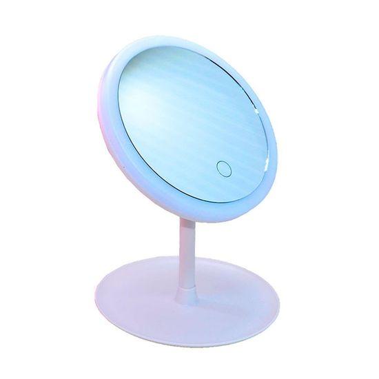 Espelho de Mesa Redondo Branco com Led 21x19cm - 1 Unidade
