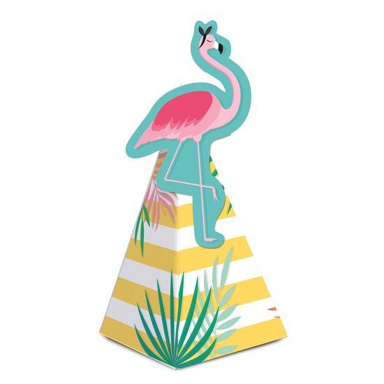 Caixa Cone Com Aplique Flamingo 6,5X6,5X12,5 Pt - 8 Unidades
