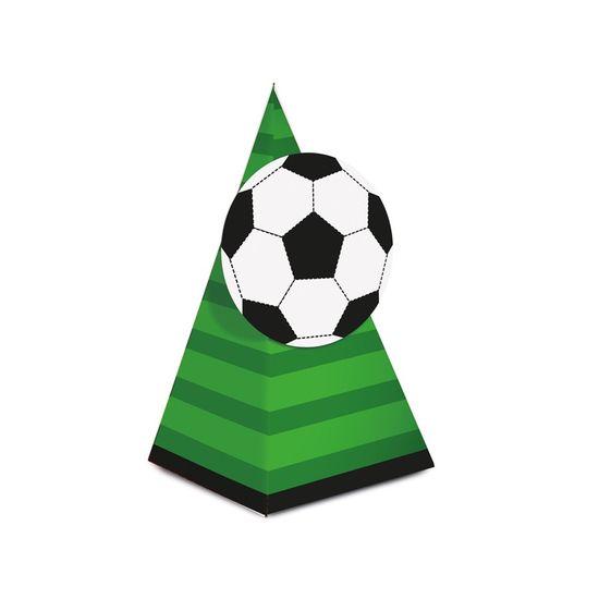 Caixa Cone Com Aplique Futebol 6,5X6,5X12,5 Pt - 8 Unidades
