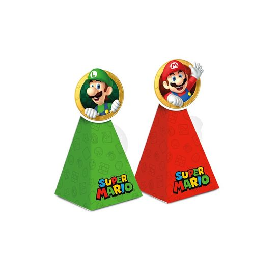 Caixa Cone Com Aplique Composse Super Mario 6,5X6,5X12,5 Pt - 8 Unidades