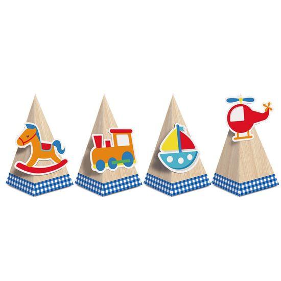 Caixa Cone Com Aplique Sortido Fabrica De Brinquedos 6,5X6,5X12,5