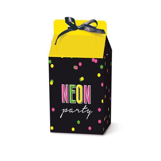 Caixa Leiteira Com Fita Neon 7,5X5,5X12,5 Pt - 8 Unidades