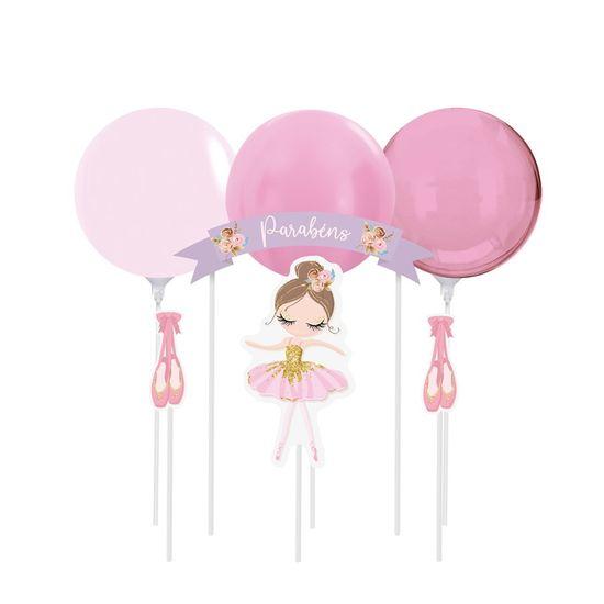 Kit Topo De Bolo com Balão Bailarina 2