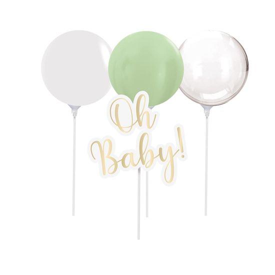 Kit Topo De Bolo com Balão Oh Baby Boy