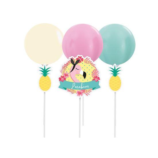 Kit Topo De Bolo com Balão Flamingo