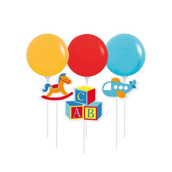 Kit Topo De Bolo Com Balão Fabrica Brinquedos - 1 Pacote