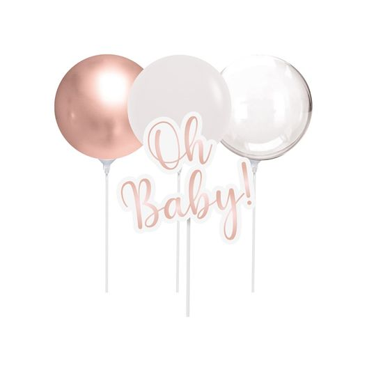 Kit Topo De Bolo com Balão Oh Baby Girl