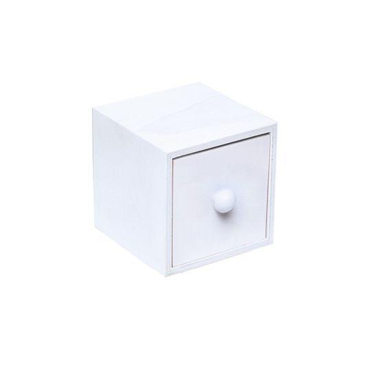 Mini Gaveta Bolinha Branco 7,5X7,8X7,8