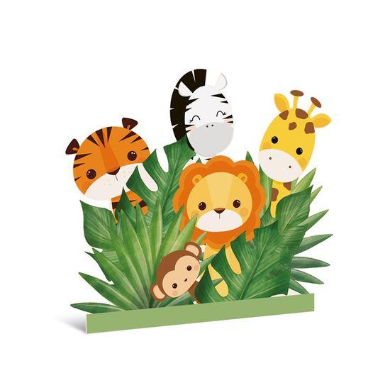 Silhueta Decorativa De Chão Macaco Zebra E Leão