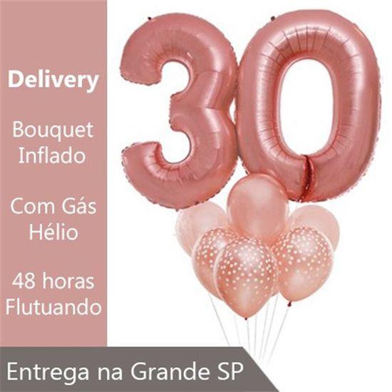 Bouquet de Balões Inflado com Gás Hélio - 30 anos Rosê Gold