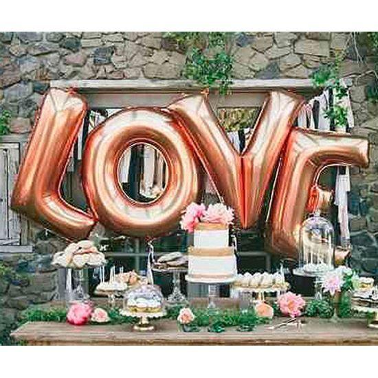 Kit Balão Metalizado de 101cm LOVE - Rosê Gold