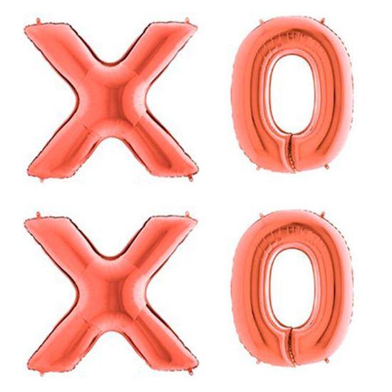 Kit Balão Metalizado de 101cm XOXO - Rosê Gold
