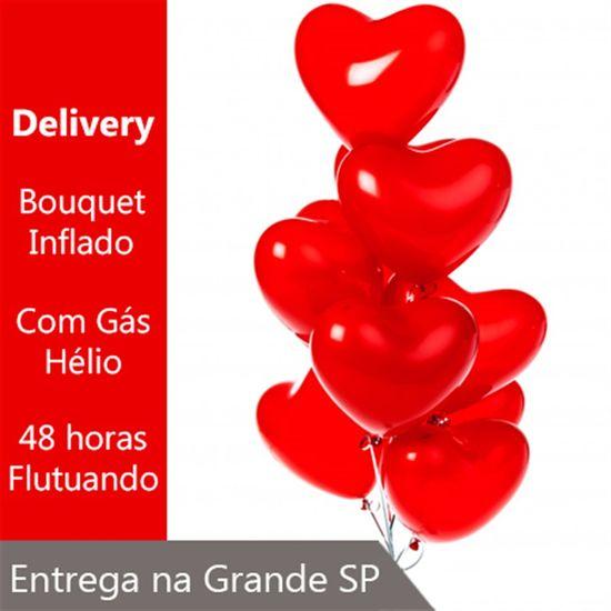 Bouquet de Balões Inflado com Gás Hélio - Kit 10 Balões Látex R12 Coração Vermelho