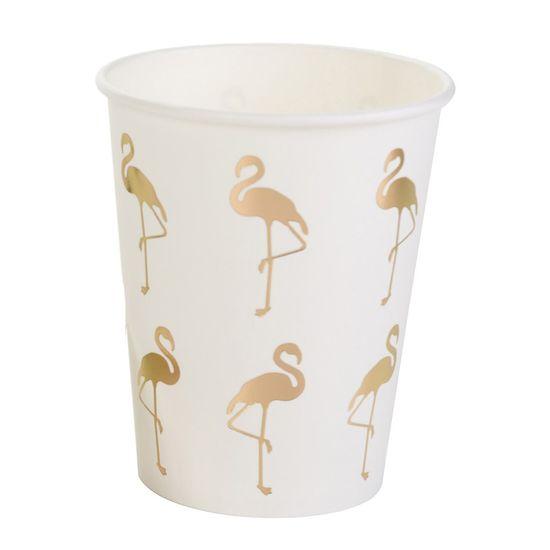 Copo Flamingo Dourado - 10 Unidades