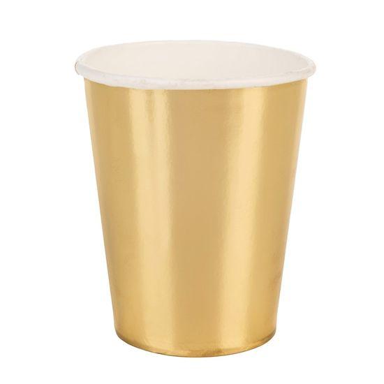 Copo Papel Liso Dourado - 10 Un