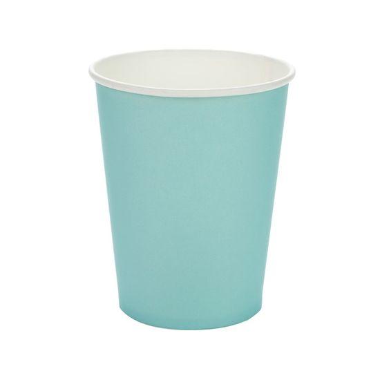 Copo Papel Liso Azul Piscina - 10 Un