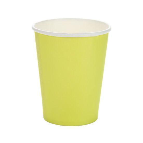 Copo Papel Liso Verde Limao - 10 Un