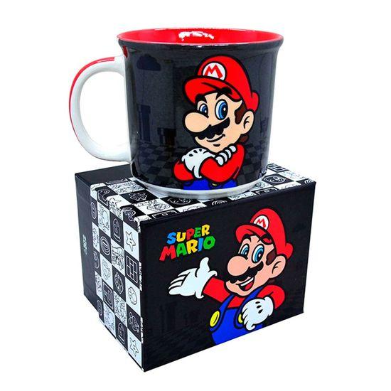Caneca Porcelana Super Mario Black - 1 Unidade