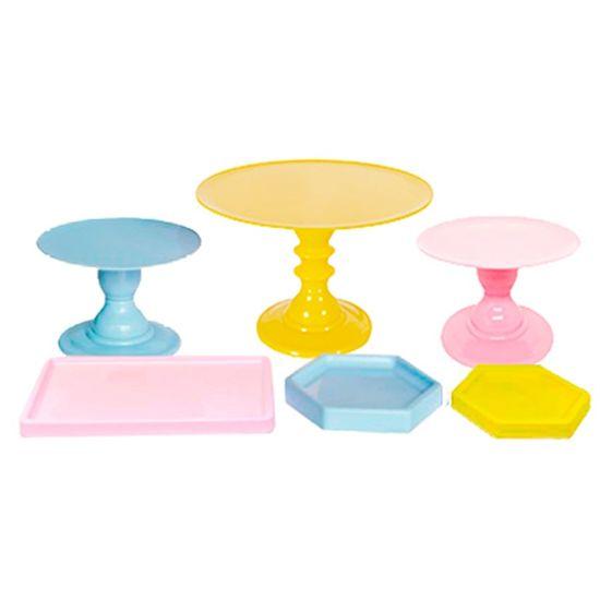 Kit de Boleiras e Bandejas - Rosa, Azul e Amarelo - 06 peças