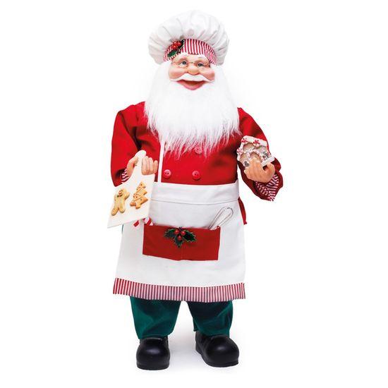 Boneco de Papai Noel Cozinheiro Candycane Verde e Branco de 62cm