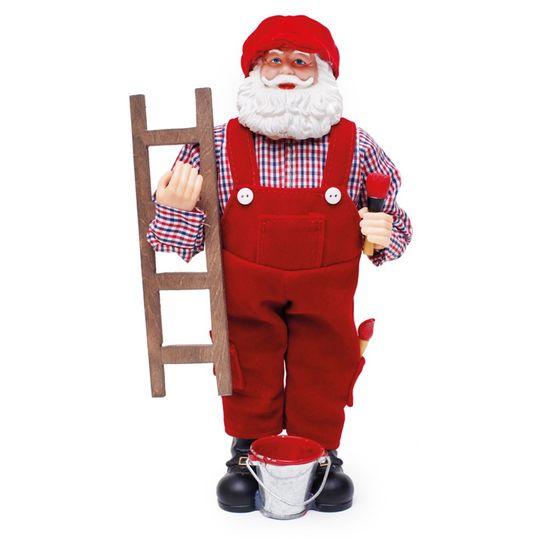 Boneco de Papai Noel Pintor Vermelho e Branco de 28cm
