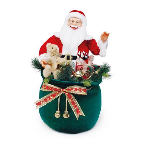 Boneco de Papai Noel no Saco de Presente Vermelho e Branco e Verde Bandeira de 64cm