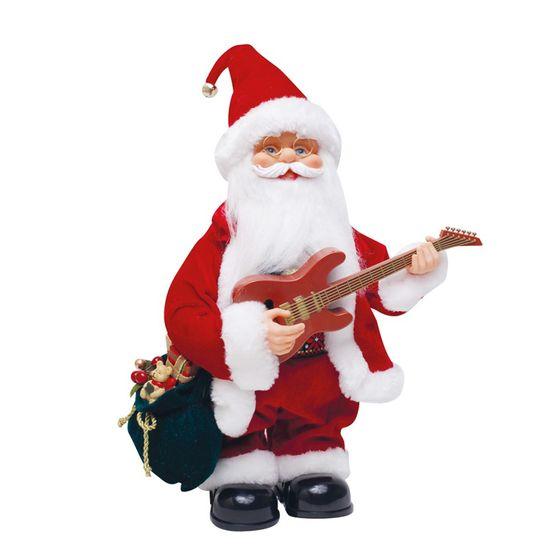 Boneco de Papai Noel Musical Xadrez com Violao Vermelho e Branco 3 Pilas AA de 33cm