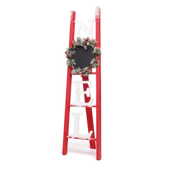 Escada Noel com Guirlanda Vermelho