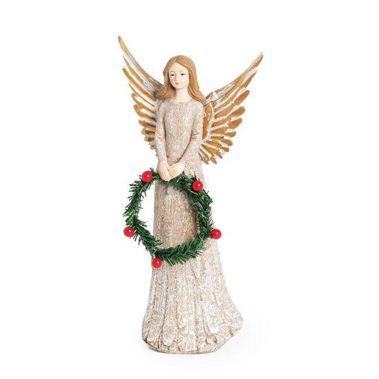 Anjo em Resina com Guirlanda Marfim P