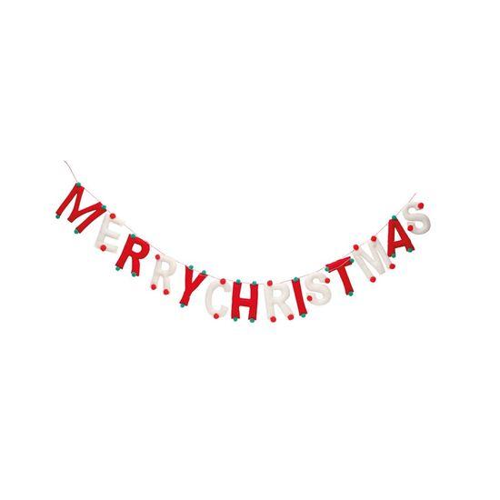 Cordão Merry Christmas Vermelho e Branco