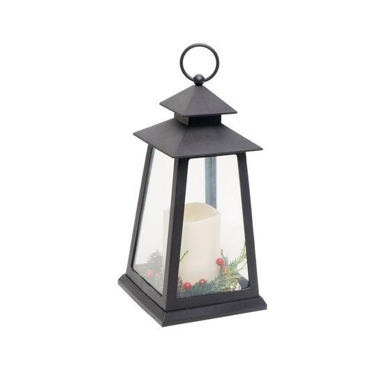 Lanterna com Vela Preto e Clara 3 AA