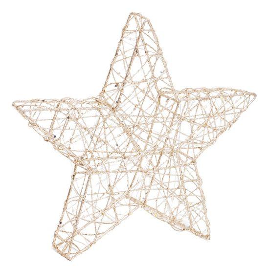 Estrela com Led Trabalhada Ouro 25cm