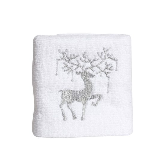 Toalha de Lavabo Rena Branco e Prata 44X30 - 2 Peças