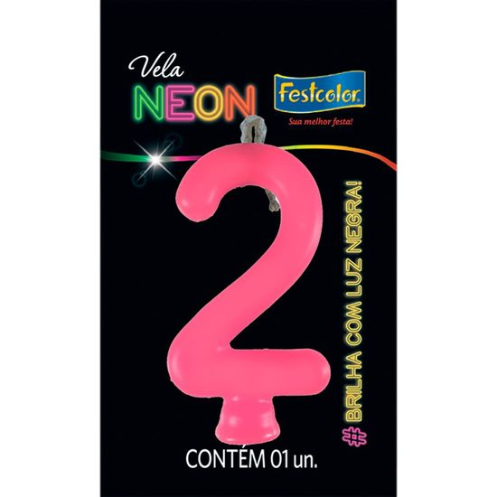 Vela N° 2 Rosa Neon - 1 Unidade