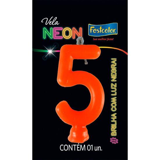 Vela N° 5 Laranja Neon - 1 Unidade