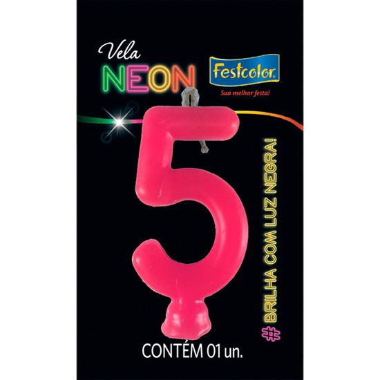 Vela N° 5 Rosa Neon - 1 Unidade